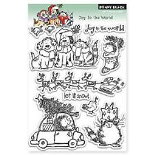 PENNY BLACK RUBBER STAMPS CLEAR JOY TO THE WORLD CHRISTMAS STAMP SET