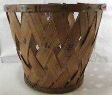 New England Shaker Large Antique Ash Wooden Woven Peach Produce Basket Signed