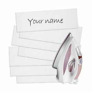 Writable Iron On Clothing Labels Pre-Cut Iron On Clothing Name Labels Tags fo...