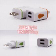 EU/US Plug Dual 2 USB Wall Charger LED Light Power Adapter 5V 2A Charge good