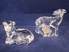 WATERFORD CRYSTAL Nativity Set of 2 Sheep ~ EXCELLENT with STICKER