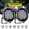 Pair 7inch 98000W Round Black LED Driving Light Work Spot SUV Offroad 4x4