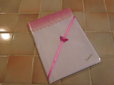 Lovely Handmade White Cotton Mix Baby Crib Sheet- Pink/White Satin Top Edge.