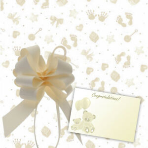 Cream Yellow Baby Cellophane Gift Wrap Baby Shower + Free Pull Bow Ribbon & Card