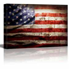 Canvas Prints- Closeup of Grunge American Flag Vintage- 24