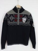 NAPAPIJRI N0Y2S4 Men MEDIUM 100% Merino Wool Half Zip Snowflake Sweater 32407-GS