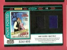PRINCESS GRACE KELLY & GARY COOPER WORN RELIC SWATCH CARD #d AMERICANA HIGH NOON