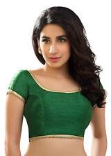 Green Polyester Raw Silk Blouse Top Choli Indian Bollywood Traditional Sari JUPE