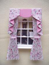 MINIATURE DOLLS HOUSE 12TH SCALE CURTAINS DRAPES CREAM PINK FLORAL 7 1/2 IN LONG