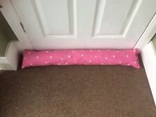 Chunky Pink & White Polka Dot Colour Fabric Door Stop Draught Excluder draft