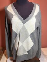 J.Crew Women's Medium V-Neck Argyle Long Sleeve Gray Sweater