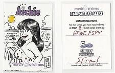 2009 5FINITY Archie Comics: March of Dimes Sketch Card by Gene Espy RARE 1/1