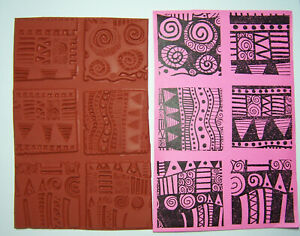 "6 Bold Graphic Unmounted Rubber Stamps 2"" Designs for Paper Craft, Fabric & Clay"