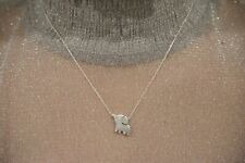 """925 Sterling Silver -"""" Elephant Trunk Up""""- 18 Inch Long Pendant Necklace-A"""