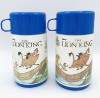 Retro 90's Lion King Aladdin Thermos Lunch For Kids, Great Condition Blue Set K9