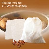 3*Organic Cotton Nut Milk Bag Reusable Food Strainer Brew Coffee Cheese Cloth GO