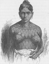 BRAZIL. Munduruku Indian woman 1890 old antique vintage print picture