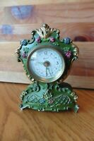 Wienerblut Alarm Clock Bijon Vintage Germany Musical Green Floral Antique Clock