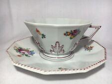 Nymphenburg Porzellan Tasse mit Untertasse Perl mit Blumen (1)