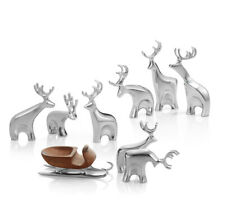 Nambe Miniature Reindeer Christmas Set - 9 Pieces