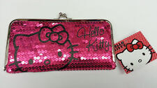 SANRIO HELLO KITTY LADY WOMEN DAZZLED SEQUIN KISS LOCK FRAME WALLET DARK PINK