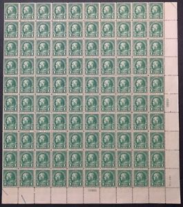 US #552 1923 1c Franklin Sheet of 100, Perf 11 Flat Plate/Finisher. MNH F-VF