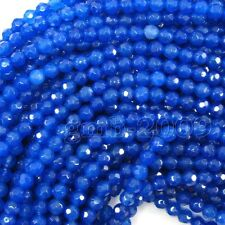 """4mm Natural Faceted Sapphire Blue Jade Round Gemstone Loose Beads 15""""AAA"""