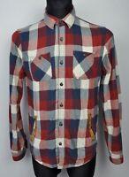 SCOTCH&SODA Leather detailing Men's Medium Shirt Long Sleeve Button Up Check M
