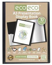 1 x A3 10 Pocket Black Folder Presentation Display Book Portfolio File eco-eco