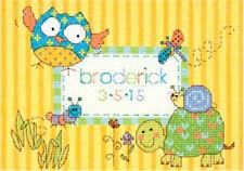 Cross Stitch Mini Kit ~ Dimenisons Woodland Creatures Birth Record #70-74370