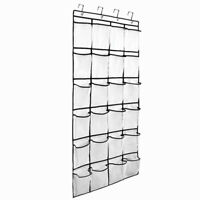 24-Pocket Over The Door Shoe Organizer Rack Hanging Storage Holder Hanger Closet