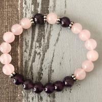 8mm Amethyst rosequartz Bracelet Spirituality Stretchy mala yoga Handmade
