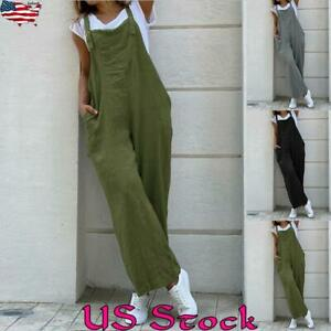 Women Cotton Sleeveless Loose Wide leg Jumpsuit Overalls Playsuit Pants Trousers