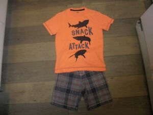 Gymboree Cape Cool plaid shorts with matching shark shirt outfit set size 7