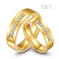 T&T 6mm 14K Gold GP Stainless Steel Comfort fit Wedding Band Ring For Couple