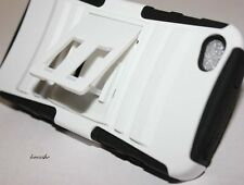 iPHONE 4 4G 4S - WHITE HARD&SOFT RUBBER DUAL LAYER ARMOR IMPACT KICK STAND CASE