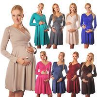 Long Sleeve Maternity Vneck Dress Pregnancy Top Tunic Size 8 10 12 14 16 18 4419