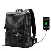 Men Leather Backpack External USB Charge Anti-Theft Travel Casual School Bag