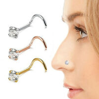 1Pc Stainless Steel Crystal Piercing Nose Ring Nose Stud Rings Body Jewelry G .