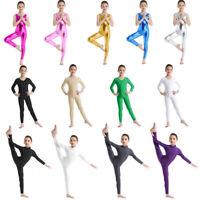 Girls Gymnastics Long Sleeve Leotards Kids Ballet Dance Unitards Catsuit Costume