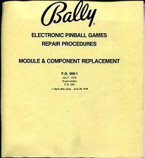 Service manual Bally ELECTRONIC PINBALL GAMES REPAIR PROCEDURES JULY, 1978