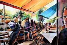 """Lunch on the Square"" Water Color Painting by Arizona Artist Logan Bauer"