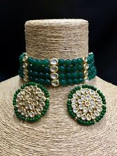 Kundan Choker Necklace Set W Earrings Bollywood Bridal Necklace Set Green Beaded