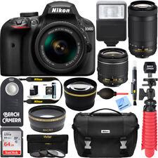 D3400 Nikon DSLR Camera w/ AF-P DX 18-55mm & 70-300mm Dual Lens Accessory Bundle