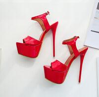 Crossdresser Sandals Peep-Toe Platform Drag Queen Mens Heels Red Stiletto Shoes