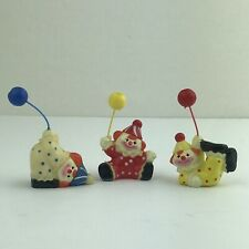 Set Of 3 Small Clowns With Balloons Figurines