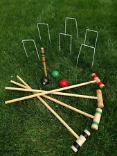 "Gazebo Games Wooden Croquet Set (31"" Mallets) In Wooden Box Great Condition"