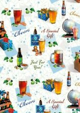 2 Sheets Gift Wrapping Paper BEER PINTS Birthday Male Mens Dad Husband Brother