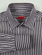 ISAIA Napoli L/S Dress Shirt Lt Purple w/Brown Stripes Men's Size 15.5 Recent