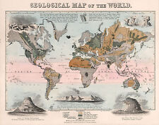 1852 Geological Map of the World Rock Types Vintage Poster Home School Office